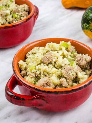 two small bowls filled with keto stuffing