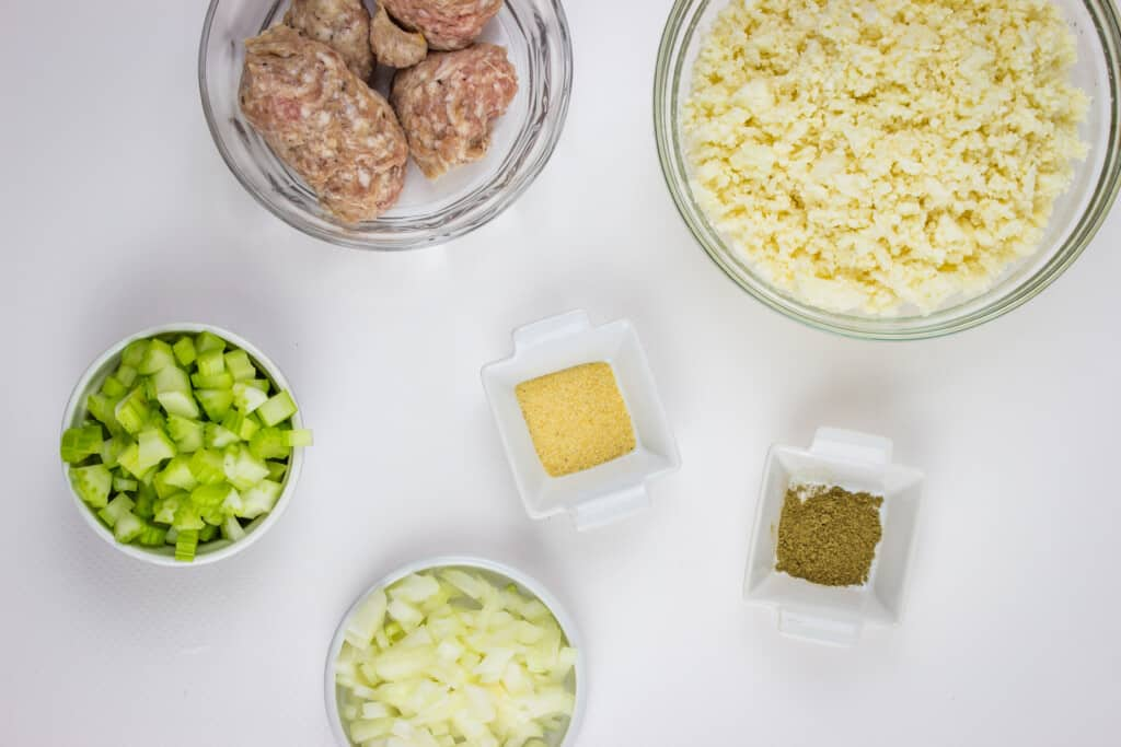 keto stuffing ingredients prepped in small dishes