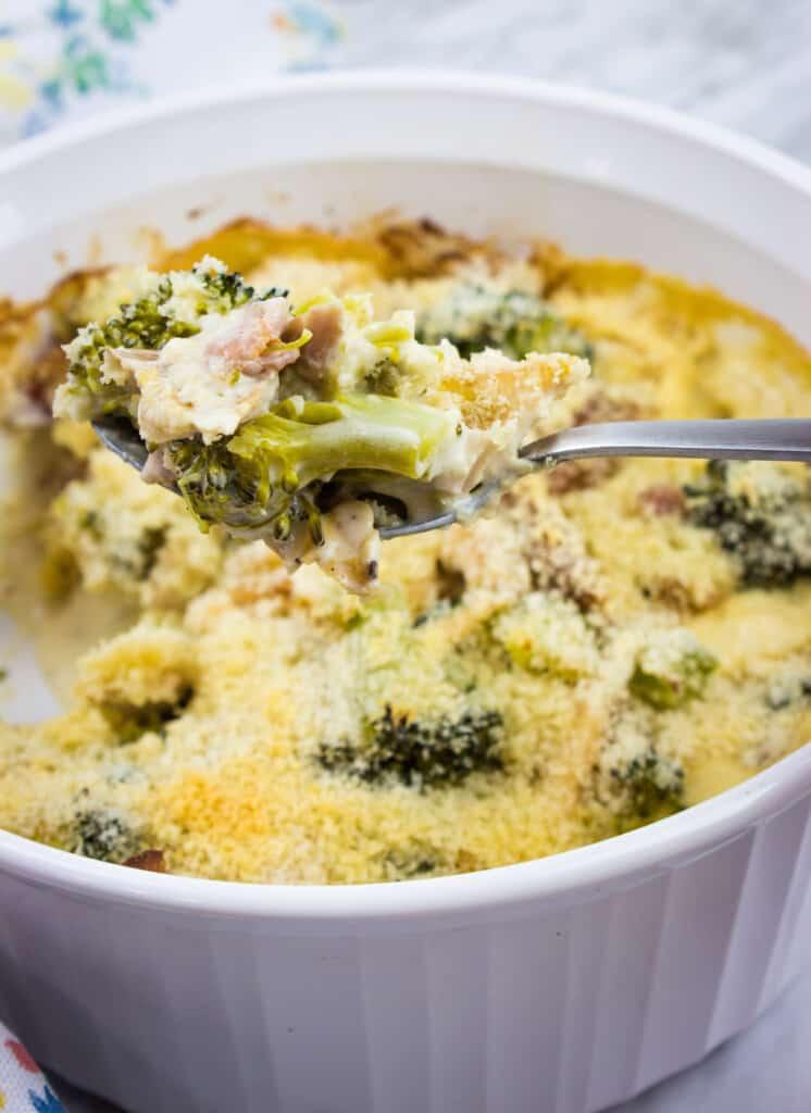 keto broccoli casserole with turkey in a casserole dish