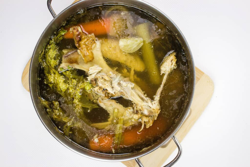 after the turkey stock has simmered for about 4 hours