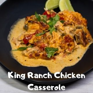 keto King Ranch chicken casserole serving on a black plate