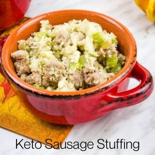 keto stuffing in a red serving dish