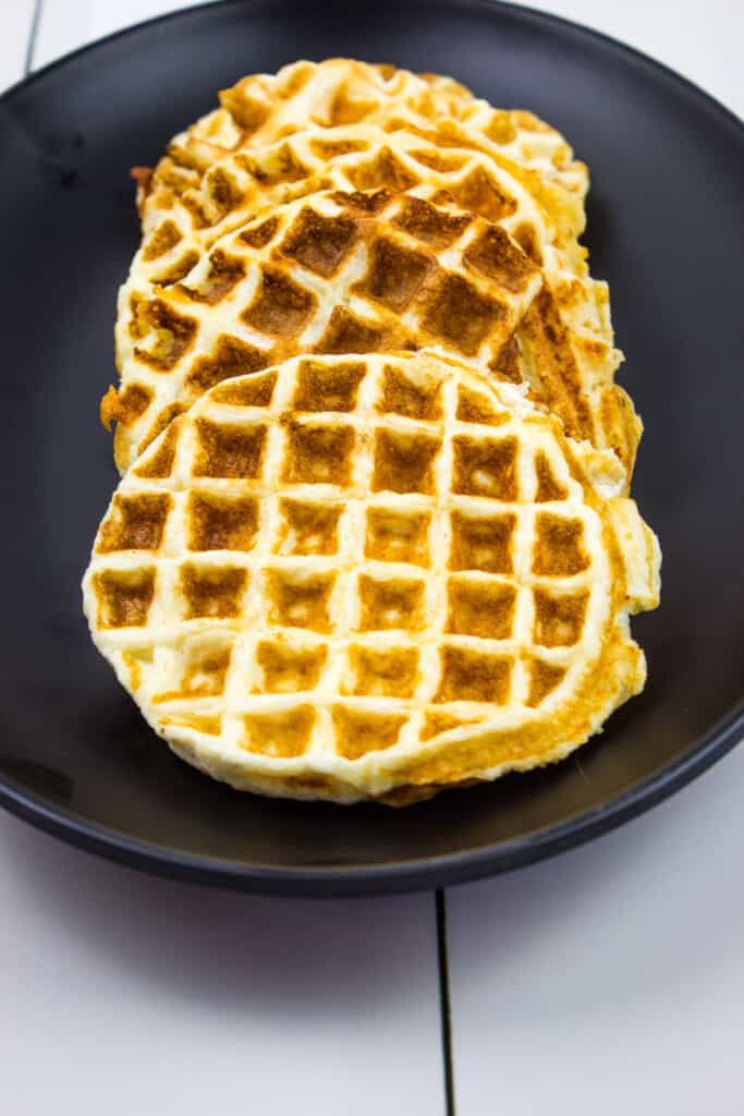 sourdough keto chaffle recipe cooked on a plate