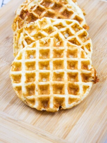 keto chaffle recipe with cooked chaffles on a cutting board
