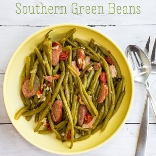 keto southern green beans in a yellow serving bowl