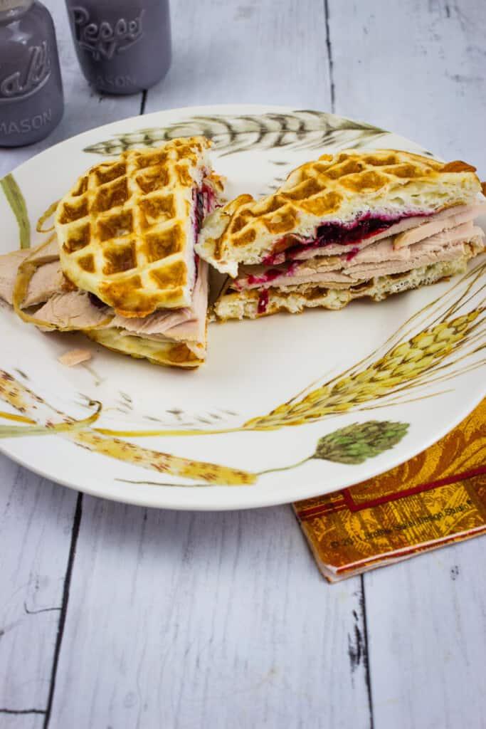 leftover turkey cranberry chaffle sandwich