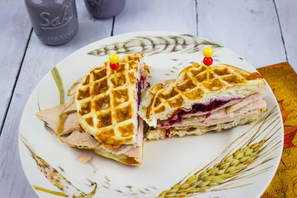 leftover turkey cranberry chaffle sandwich