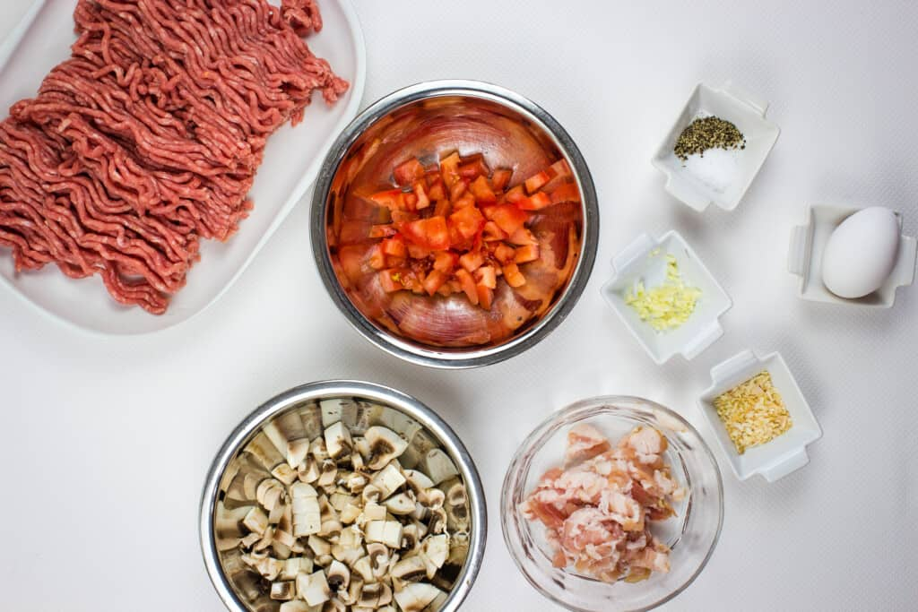 prepped ingredients to make hte best keto meatloaf recipe