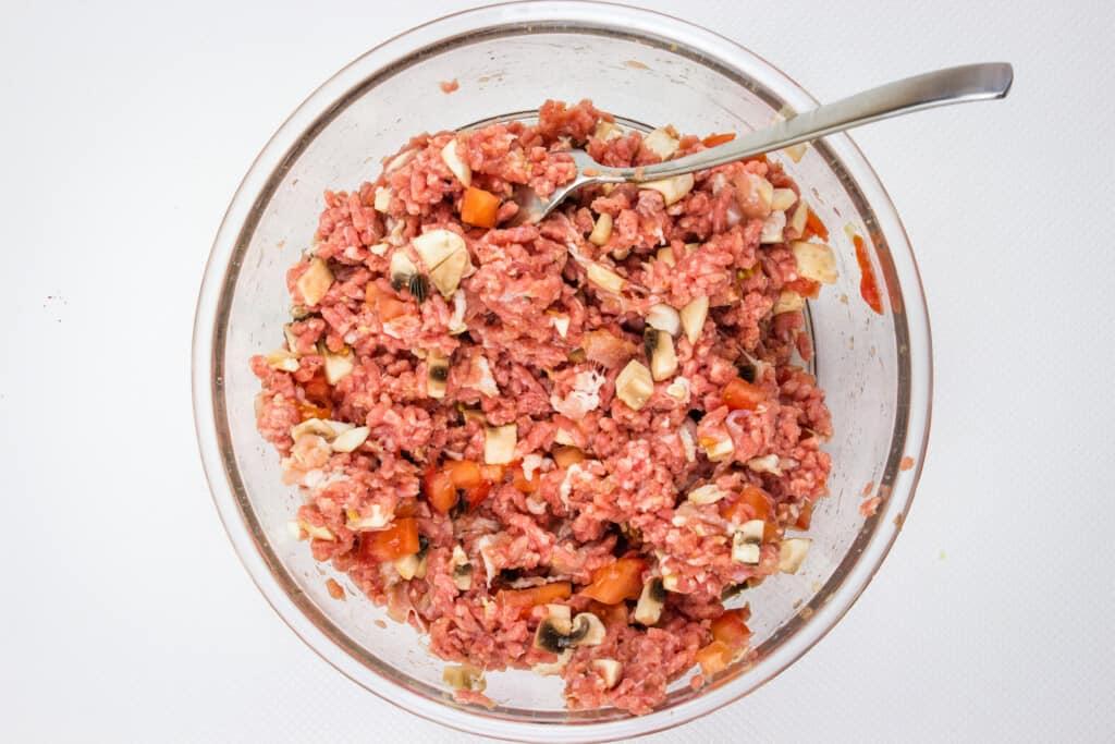 best keto meatloaf recipe mixture blended in a bowl