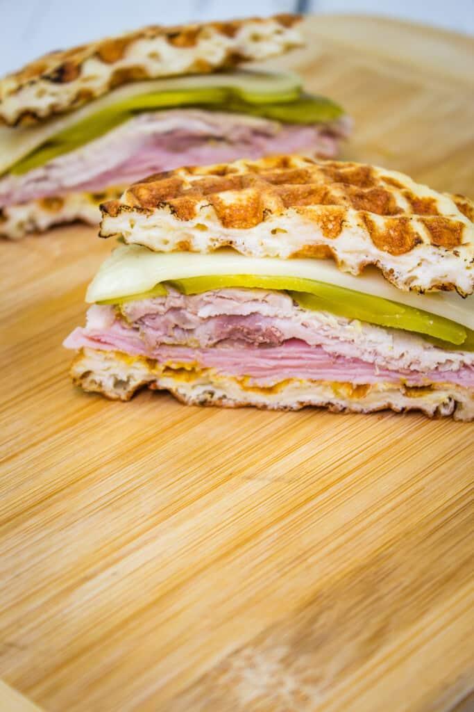 keto cuban chaffle sandwich