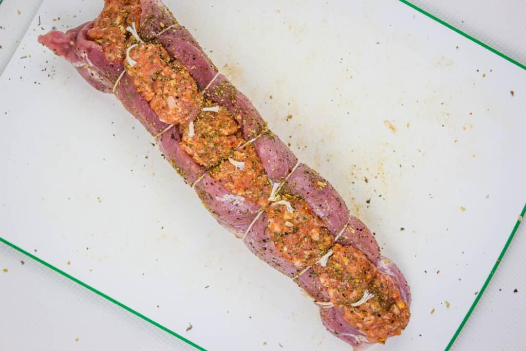 season the outside of the sausage stuffed pork tenderloin