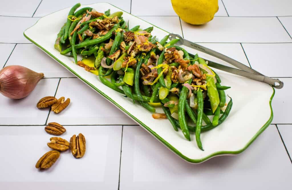 keto green beans & asparagus with lemon & pecans