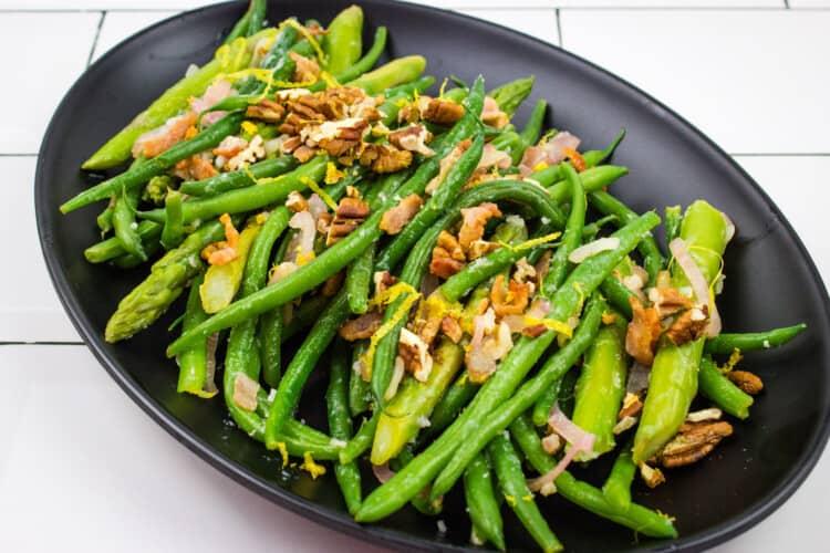 Keto Asparagus & Green Beans w/ Lemon & Pecans