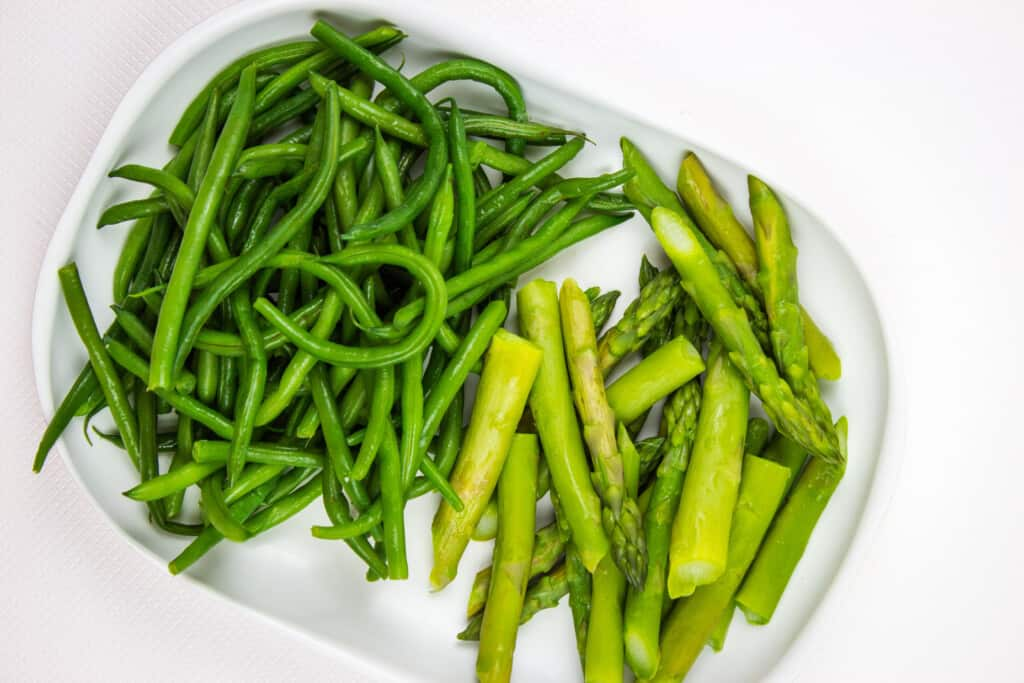 Blanched green beans and asparagus.