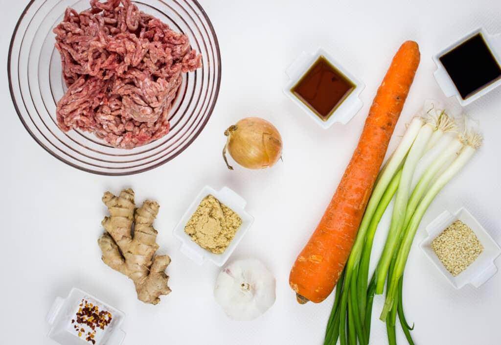 Ingredients to make korean beef bowls.