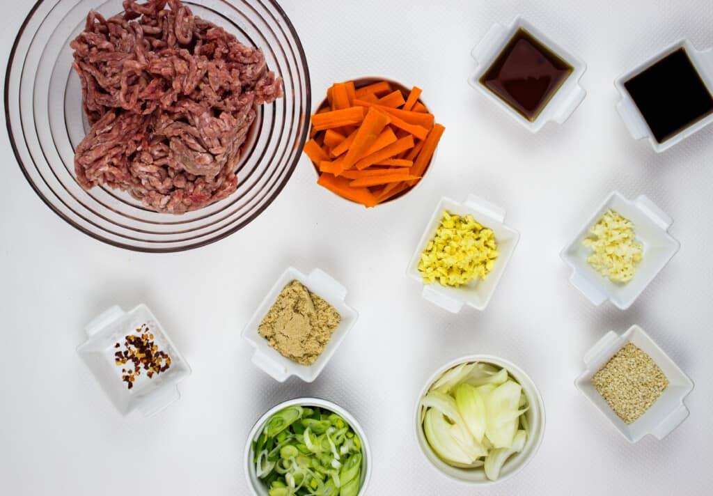 prepped ingredients to make korean beef bowls.
