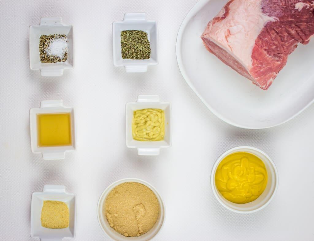 Ingredients to make brown sugar mustard glaze pork roast.