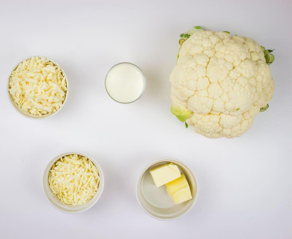 Ingredients to make cheesy mashed cauliflower.