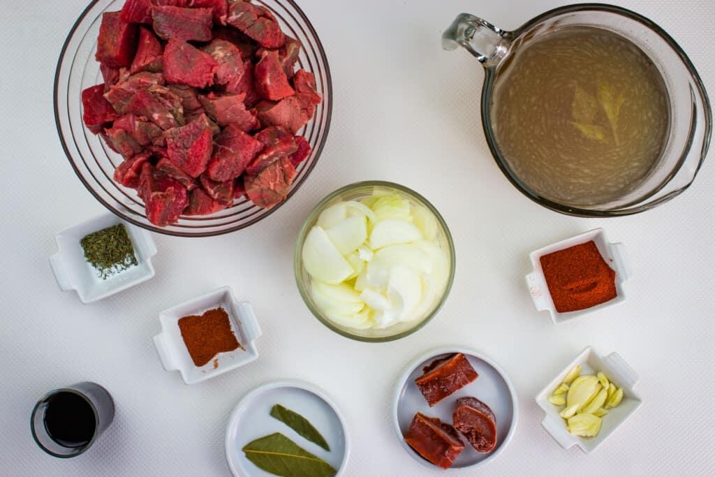 prepped ingredients to make Hungarian keto goulash
