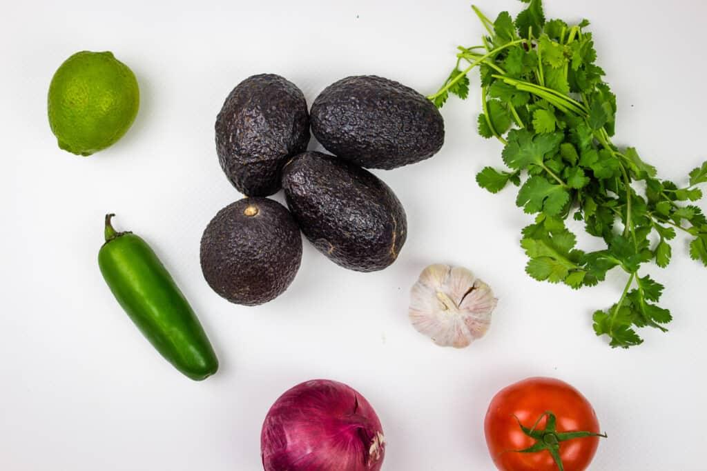 ingredients to make easy keto guacamole