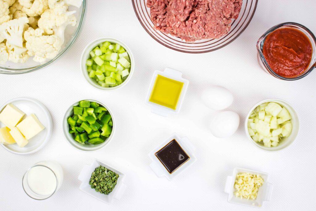prepped ingredients to make keto meatloaf casserole