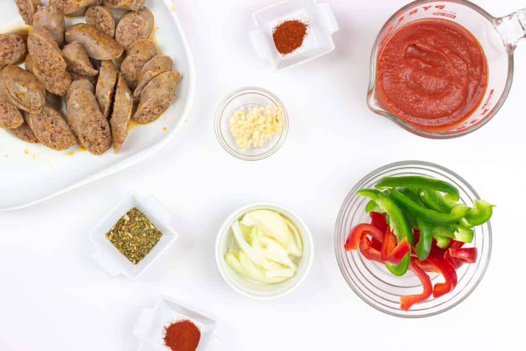 prepped ingredients to make keto sausage stew