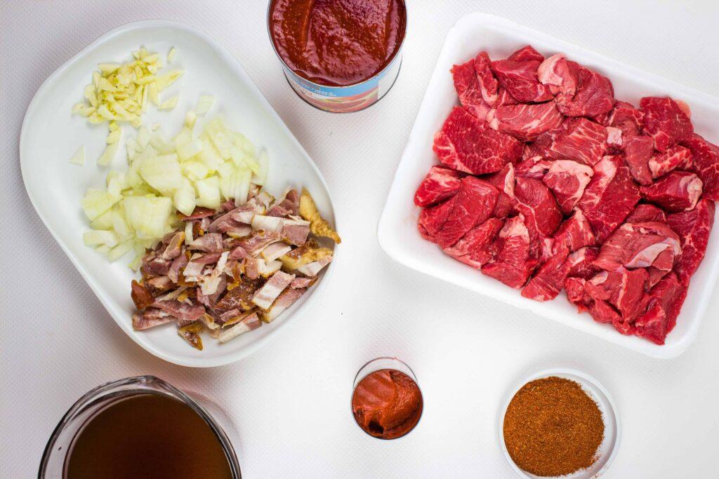 prepped ingredients to make easy keto chili recipe