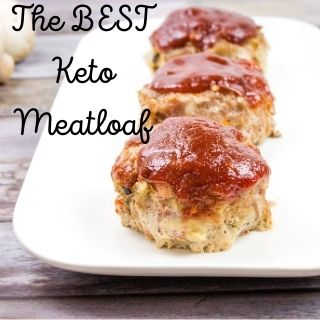 three servings of the best keto meatloaf on a white platter