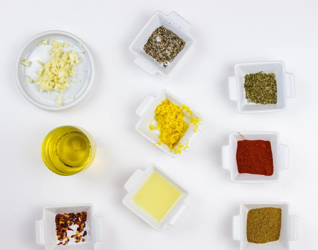 Ingredients to make the rub for oven-roasted peruvian chicken.