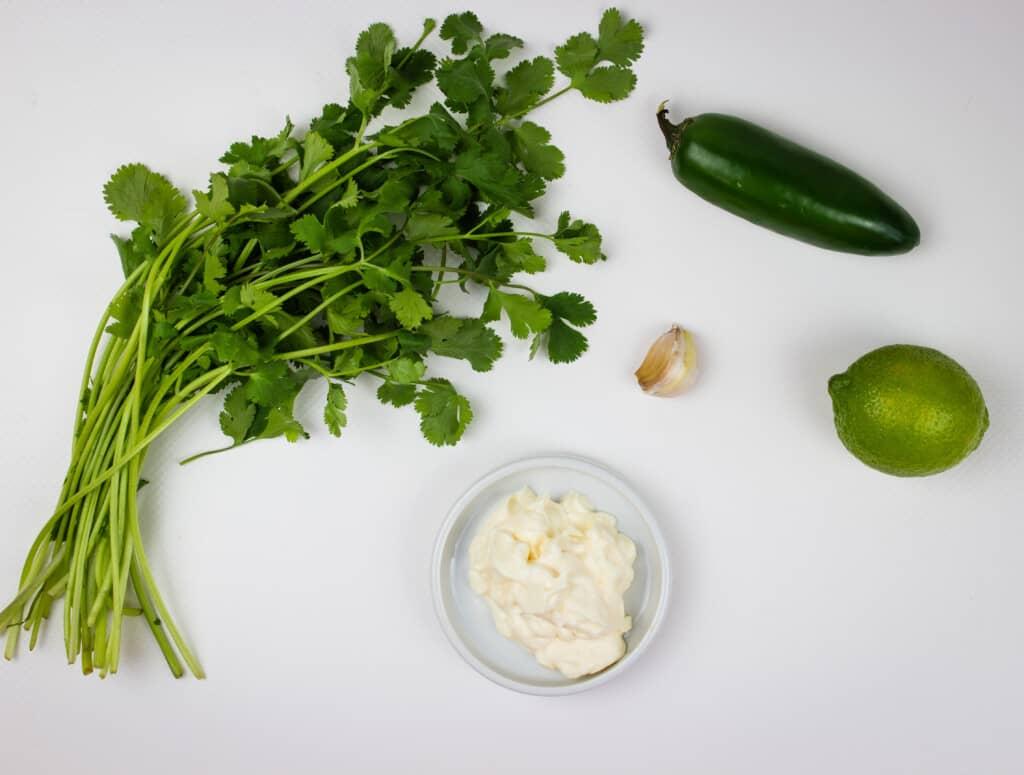 Ingredients to make the Peruvian chicken sauce.