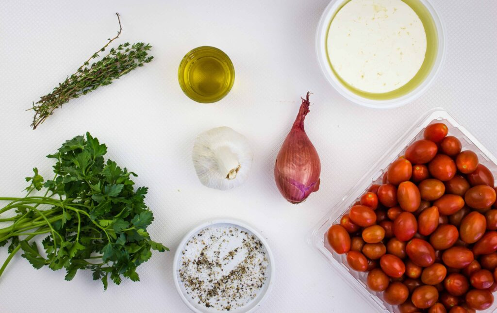ingredients to make baked feta pasta