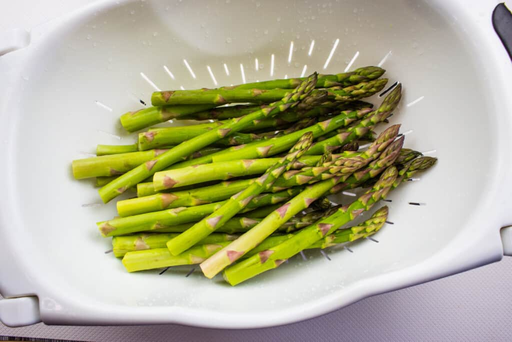 Trimmed and washed asparagus.