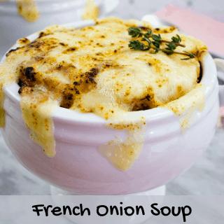 keto french onion soup in a white bowl