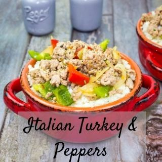 Italian ground turkey & peppers in a red dish with cauliflower rice