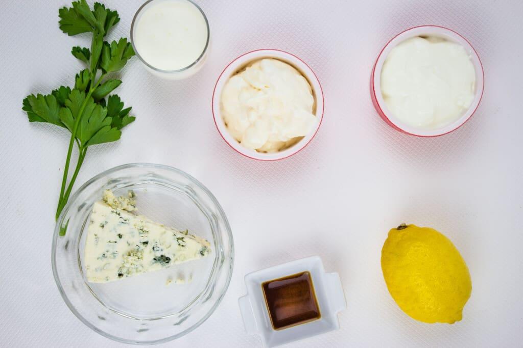 Ingredients to make keto blue cheese dressing recipe.