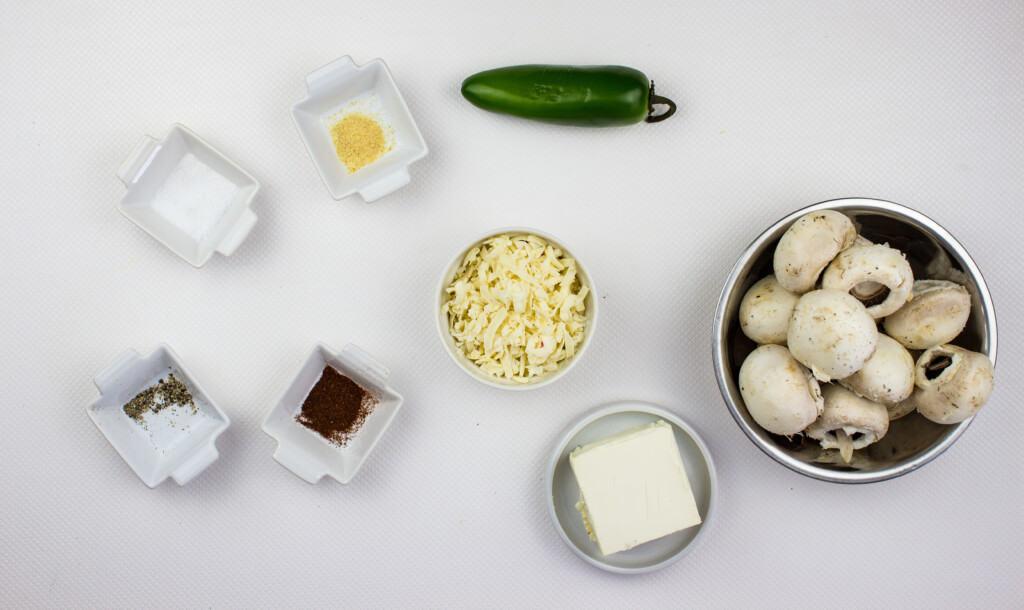 ingredients to make jalapeno and cream cheese stuffed mushrooms