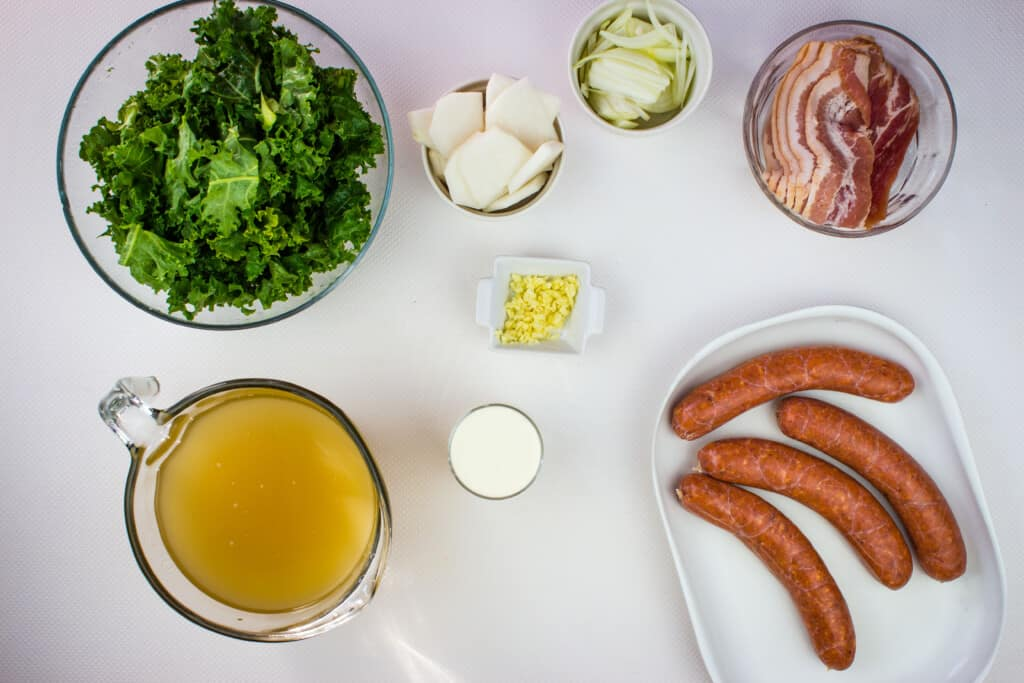 Prepped ingredients to make keto zuppa toscana soup recipe