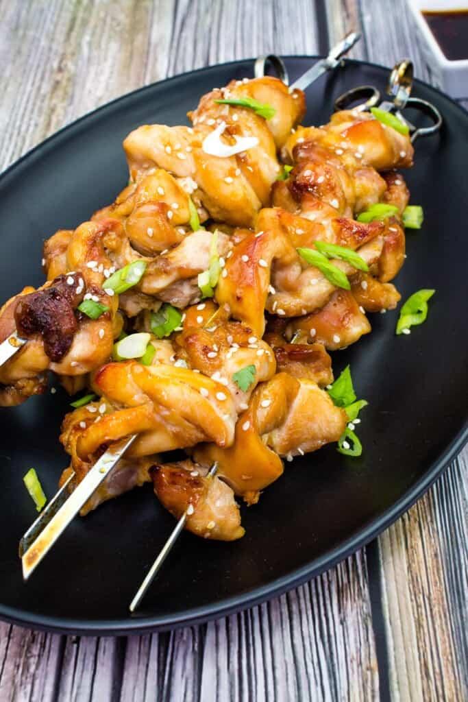 keto chicken teriyaki skewers on a platter