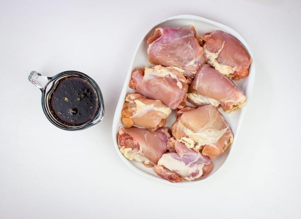 Ingredients to make keto teriyaki chicken skewers