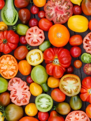 a variety of tomatoes