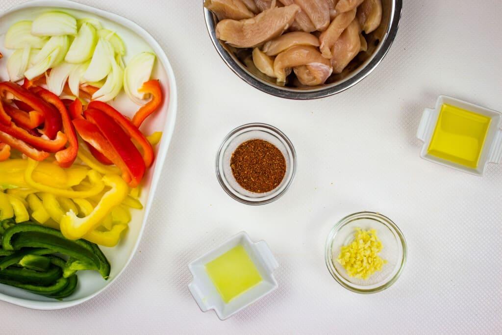 prepped ingredients to make keto chicken fajita skillet