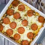 keto pizza casserole in a square dish