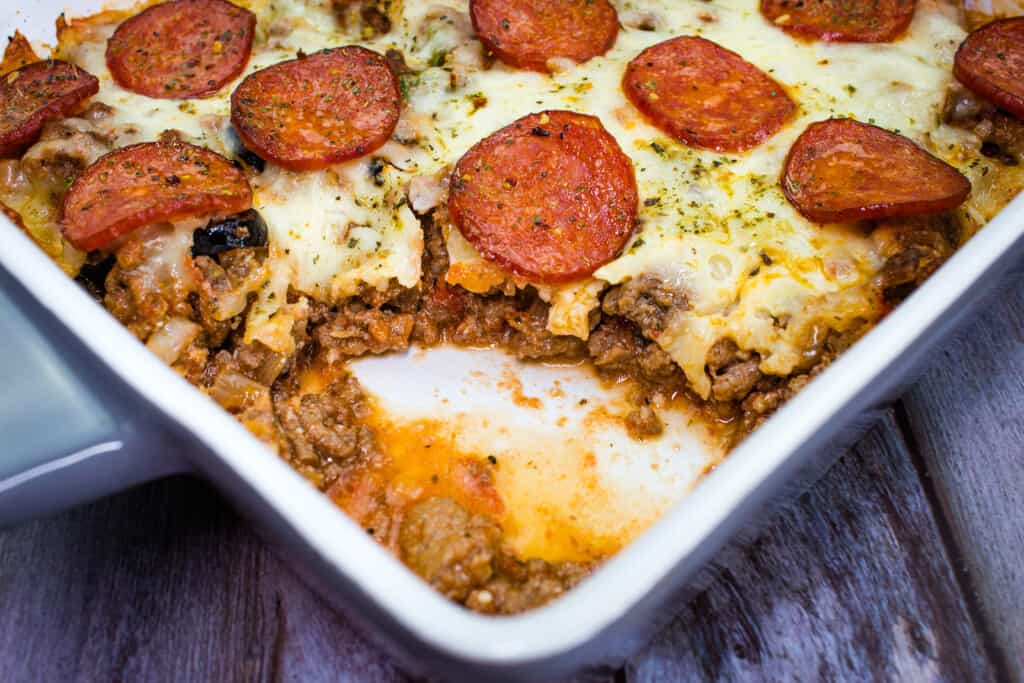 keto pizza casserole in a serving dish