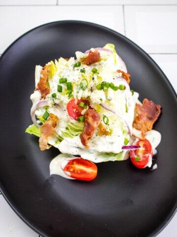 keto wedge salad on a plate