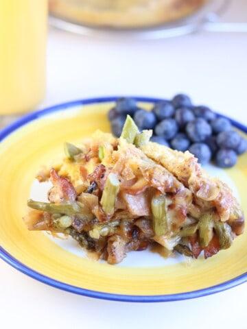 keto breakfast casserole on a yellow plate