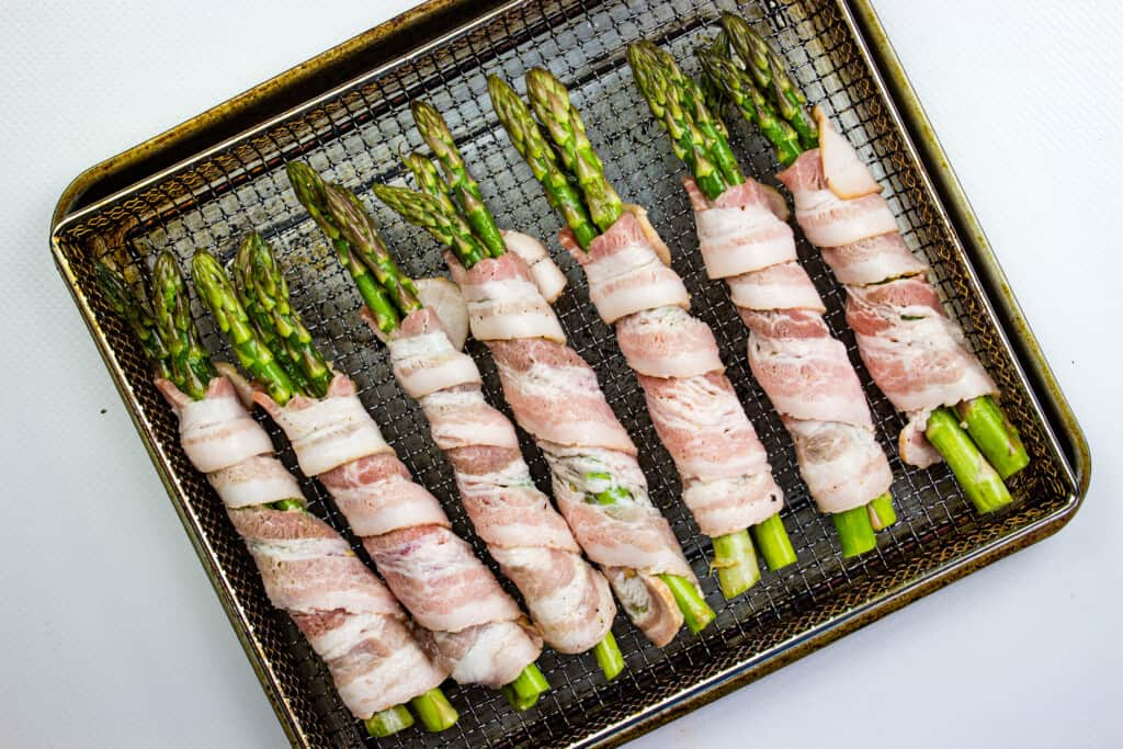 bacon wrapped asparagus ready for the air fryer