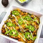 keto taco casserole in a square casserole dish