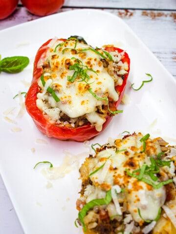 keto stuffed peppers on a plate