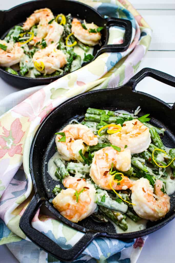 keto shrimp alfredo with asparagus