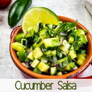 cucumber salsa in a serving dish
